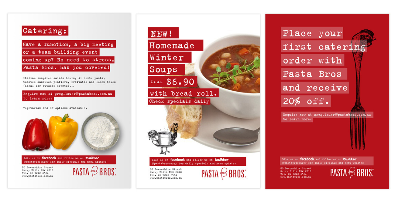 Branding: flyers, posters, business cards, pull up banners for Pasta Bro