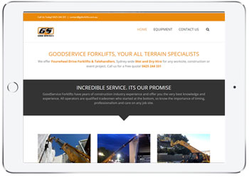 Forklift Hire web design for GS Forklift, Caringbah