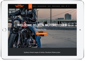 Brochure website design, Iron Motorcycles, Taren Point