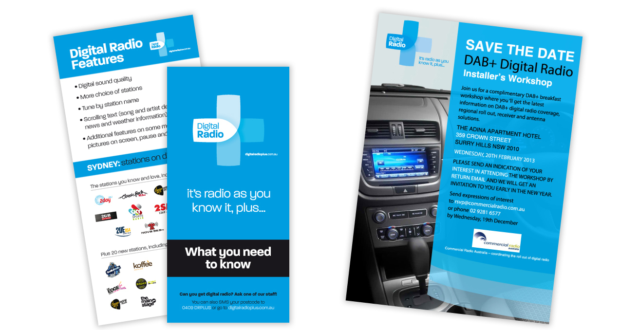 Branding: flyers, brochures, catalogues, advertising for Digital Radio