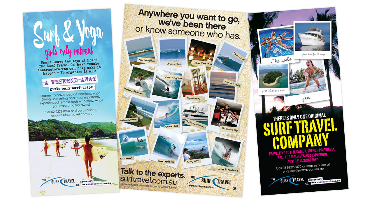 Branding: flyer, posters, websites, catalogues, advertising banner for Surf Travel