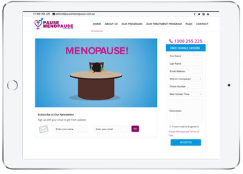 Wordpress website design for Pause Menopause
